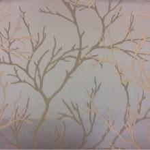 Атласная ткань с растительным орнаментом из хлопка, На бледно-голубом фоне ветви в серо-бежевых оттенках, 2525/71, Итальянский каталог ткани для штор на заказ.
