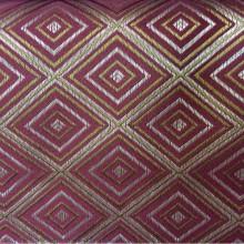 Купить атласную ткань с геометрическим рисунком, Ромбы (5 см) в золотисто-красных оттенках, Высота 3 метра, 2384/30, Французский каталог портьерной атласной ткани для штор на заказ.
