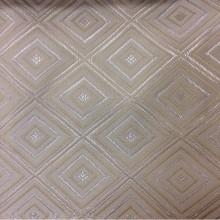 Купить атласную портьерную ткань с геометрическим рисунком, Ромбы (5см) в ванильно — кремовых тонах, Высота 3 метра, 2384/11,
