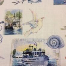 Портьерная ткань «под лён» с морской тематикой на заказ, На белом фоне морская символика, микс, Bodrum, col V1, Турция.