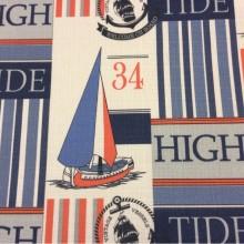 Портьерная ткань «под лён» с морской тематикой, На белом фоне морские символы красно-синих оттенков, Высота 2,95, Vessels, col V1, Турецкий каталог ткани для штор на заказ.
