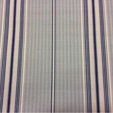 Портьерная ткань «под лён» средней плотности, Чередование вертикальных белых,  голубых и синих полос, Sailor Stripe, col 1052, Турция.
