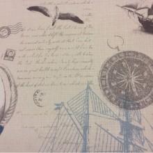 Портьерная ткань «под лён» с морской тематикой на заказ в интернет-магазине Москвы, На светлом фоне морские символы голубого, серого оттенков, Jules Verne, col 1002, Турецкий каталог ткани средней плотности для пошива штор на заказ.