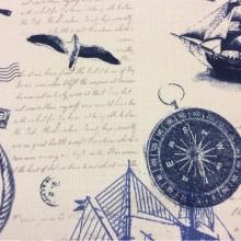 Портьерная ткань «под лён» с морской тематикой на заказ в интернет-магазине,  На белом фоне морские символы красного и синего оттенков, Jules Verne, col 1028, Турецкий каталог ткани средней плотности для пошива штор на заказ.