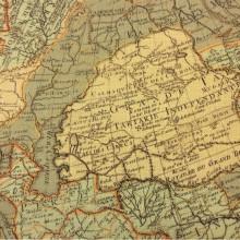 Заказать портьерную ткань «под лён» в Москве в интернет-магазине, Изображение карты в зелёно-жёлтых оттенках, Ширина 1,50, Piri Reis, col 1011, Турция.