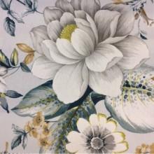 Портьерная плотная ткань с цветочным орнаментом, На светлом фоне крупные цветы и листья в бежевых, серых и синих тонах, Super Nei-A, col Aguamarina 24, Испания.