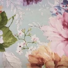 Купить портьерную плотную ткань из хлопка с цветочным орнаментом, на мятном фоне разноцветные крупные цветы и листья, Super Adele Donana, col Rosa, Испанский каталог ткани для штор на заказ.