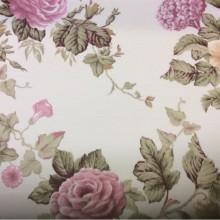Заказать портьерную плотную ткань из хлопка с цветочным орнаментом, На светлом фоне крупные розы и листья в розовых, зелёных и бежевых тонах, Высота 2,80 метра, Super Artico Donana, col Rojo, Испанский каталог плотной, портьерной ткани для штор  на заказ.