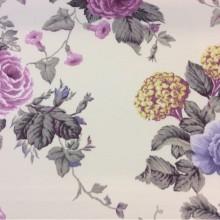 Купить портьерную ткань из хлопка с цветочным орнаментом, На светлом фоне крупные розы и листья в сиренево-голубых тонах, Высота 2,80 метра, Super Artico Donana, col Lila, Испанский каталог портьерной ткани для штор на заказ.