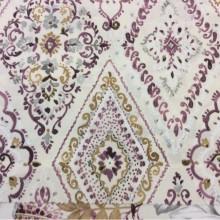 Купить портьерную плотную ткань из хлопка в классическом стиле, На светлом фоне «дамаски» розовых, горчичных и серых оттенков, Высота 2,80, Super Bebe-A, col Vino 17, Испанский каталог портьерной ткани для штор на заказ.