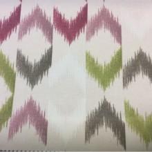 Купить портьерную плотную ткань из хлопка в стиле бохо, Этнический орнамент в розовых и зеленых оттенках, Высота 2,80, Super Karnal Donana, col Rosa, Испанский каталог ткани для штор на заказ.