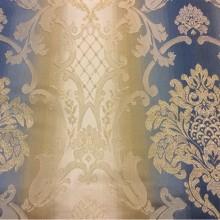 Купить жаккардовую ткань с люрексной нитью и выпуклым эффектом, Ажурные «дамаски» в сине-бежевых тонах, Ширина 2,80, Арт: 1401A, col 3, Итальянский каталог ткани для пошива штор на заказ.