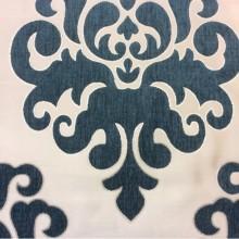 Атласная ткань с набивкой из шенилла на заказ в интернет-магазине, На ванильном фоне «дамаски» тёмно-бирюзового оттенка, Высота 3,0, Арт: Morocco, col 04, Итальянский каталог ткани для штор.
