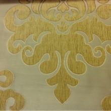 Атласная ткань с набивкой из шенилла на заказ в интернет-магазине, На золотистом фоне «дамаски» оттенка шафран, Высота 3,0, Арт: Morocco, col 17, Италия.