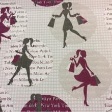 Заказать натуральную ткань с хлопковой нитью  и креативным изображением рисунка в интернет-магазине, Серые оттенки, тёмно-розовый, Cinema, col 24, Испанский каталог ткани для пошива штор на заказ.