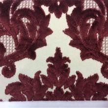 Заказать элитную натуральную ткань с бархатной набивкой, На светлом фоне «дамаски» бордового оттенка, Ширина 1,40, Bosco, col 16, Итальянский каталог  дорогой ткани для пошива штор на заказ в интернет-магазине.