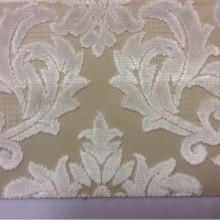 Купить натуральную ткань с бархатной набивкой, На бежевом фоне «дамаски» ванильного оттенка, Ширина 1,40, Bosco, col 36, Итальянский каталог ткани для штор на заказ.