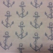 Тюлевая ткань с морской тематикой на заказ в интернет-магазине, На полупрозрачной сетке голубые якоря, Высота 2,90, Anchor Suit, col V1, Турецкий каталог тюлевой ткани для пошива штор на заказ.