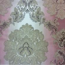 Купить жаккардовую ткань с эффектом выпуклого нанесения орнамента, «Дамаски» на бежево-розовом фоне, Ширина 2,80, Арт: 1323A, col 2, Итальянский каталог ткани для пошива штор на заказ.