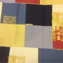 Портьерная ткань из хлопка в современном стиле с квадратами