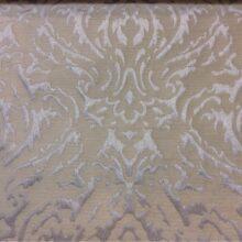 Кремово-серебристая портьерная ткань из вискозы с рисунком «дамаск»