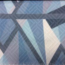 Серо-голубая ткань из хлопка с крупным геометрическим рисунком