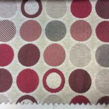 Портьерная ткань в красных и серо-бежевых кругах