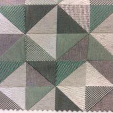Портьерная ткань — треугольники в серо-зелёных оттенках