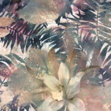 Портьерная ткань в сине-зеленых коричнево-розовых оттенках