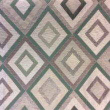 Портьерная ткань ромбы в серебристо-зелёных оттенках