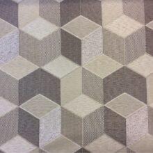 Портьерная ткань кубы в бежевых, серебристых и коричневых оттенках