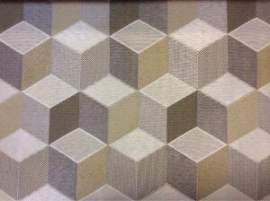 Портьерная ткань кубы в серебристо-серых и бежево-коричневых оттенках