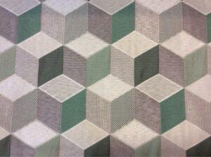 Портьерная ткань кубы в серебристо-зелёных оттенках