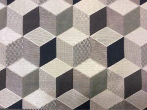 Портьерная ткань кубы в серебристо-тёмных оттенках
