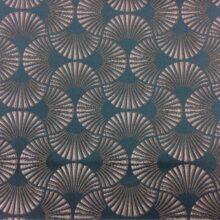 Портьерная атласная ткань в изумрудно-бежевых оттенках