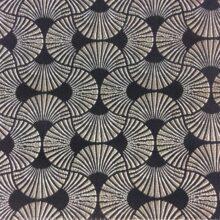 Портьерная атласная ткань с абстрактным серебристо-черным рисунком