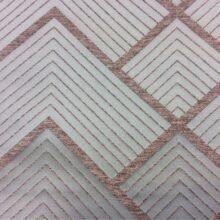 Портьерная атласная мятная ткань с геометрическим рисунком