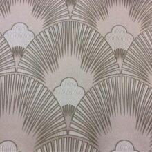 Портьерная атласная пудрово-серебристая ткань с мягким геометрическим рисунком