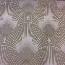 Портьерная атласная ткань шампань с мягким геометрическим рисунком