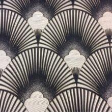Портьерная атласная серебристо-чёрная ткань с мягким геометрическим рисунком