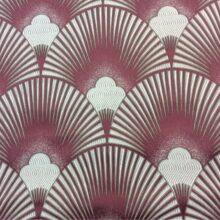 Портьерная атласная ткань с мягким геометрическим рисунком розовая