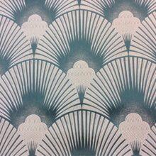 Портьерная атласная серебристо-изумрудная ткань