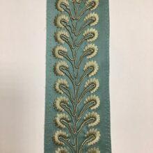 Декор бордюр для отделки портьер и покрывала в бирюзово-золистых оттенках