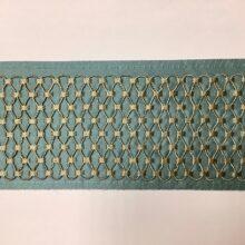 Декор бордюр для отделки портьер и покрывала в бирюзово-золотистых оттенках