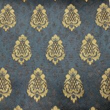 Портьерная жаккардовая ткань с мелким рисунком в классическом стиле синяя