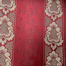 Портьерная жаккардовая ткань в классическом стиле красная