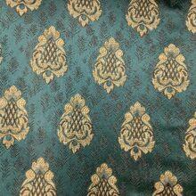 Портьерная жаккардовая ткань с мелким рисунком в классическом стиле бирюза