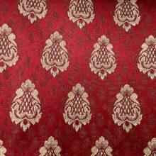 Портьерная жаккардовая ткань с мелким рисунком в классическом стиле красная