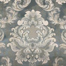 Портьерная жаккардовая ткань в голубых тонах дамаск