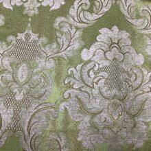 Портьерная жаккардовая ткань с рисунком «дамаск» зеленая
